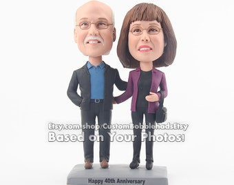 40th anniversary gift, personalized gift for couple, unique bobblehead doll gift for anniversary, funny anniversary present for party