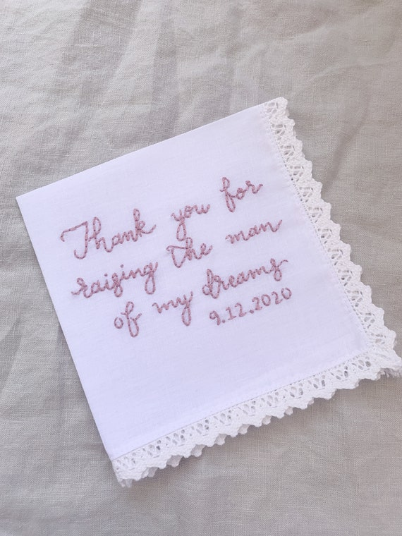mother of the bride handkerchief pocket square personalized wedding bridal gift and mementos custom wedding shower gift gift for dad wedding