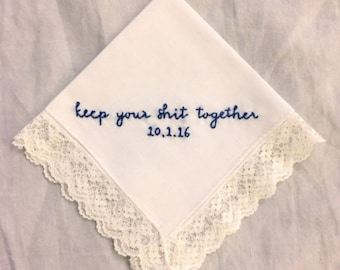 Custom embroidery. Wedding hanky. Bridal handkerchief. Gift for bride. Personalized bride accessory. Something blue. Mother of the bride.