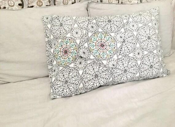 Mandala Pillows Bohemian Bedding Indie Pillowcases Black