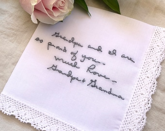 Custom Embroidered Handwriting Wedding Handkerchief for the Bride, Personalized Hanky, Something Blue, Bridal Handkerchief, Wedding Hanky