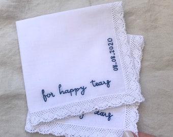 Wedding Bouquet Bride's Handkerchief Vintage Something Blue Something New Wedding Shower Wedding Date Keepsake Hanky Ceremony Hankie