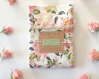 Vintage inspired rose pillows- crochet rosette trim, pink roses, floral decor,gift for friend, girl bedroom,feminine bedding,thoughtful gift