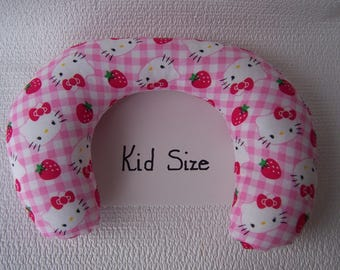"""Kid Neck Roll Pillow in pink  """"Hello,Kitty"""" print."""