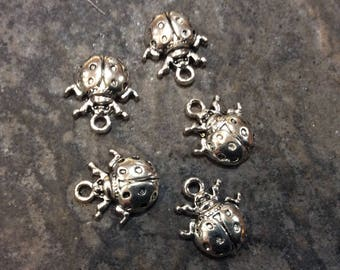 CLEARANCE Ladybug charms antique silver finish set of 5 charms Summer charms Adjustable bangle charms