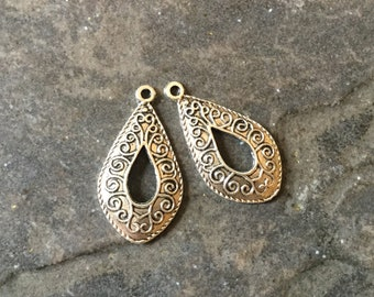 Silver Teardrop pendant charms with filigree pattern and cutout  Package of 2 charms