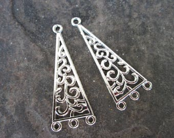 Silver Filigree Chandelier Earring Findings Package of 2 Boho style earring supplies