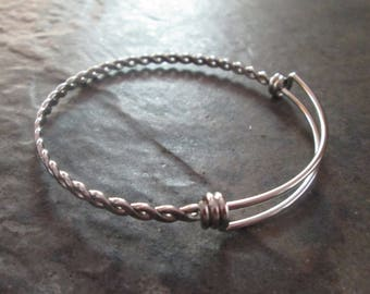 """STAINLESS STEEL bangles with twisted chain detail adjustable wire bangle bracelet blanks sold per piece Beautiful Quality 2 1/2"""""""