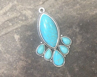 Teardrop shape Turquoise antique silver pendants  perfect for jewelry making