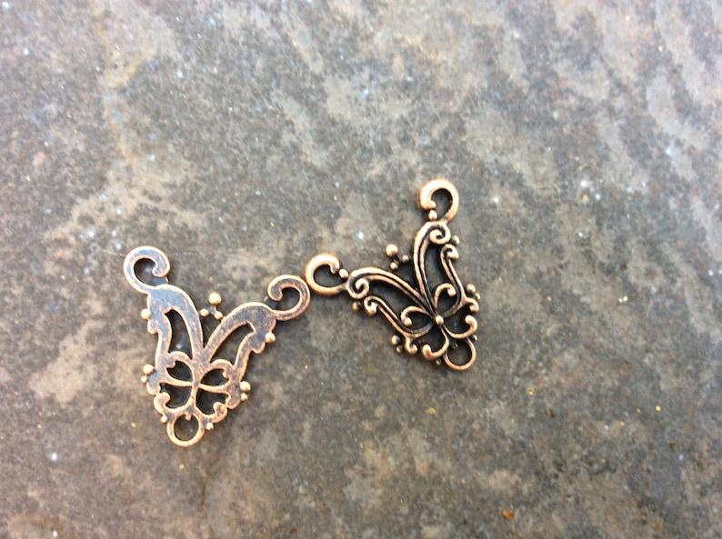 Copper Filigree Y necklace connector package of 4 necklace or bracelet connectors