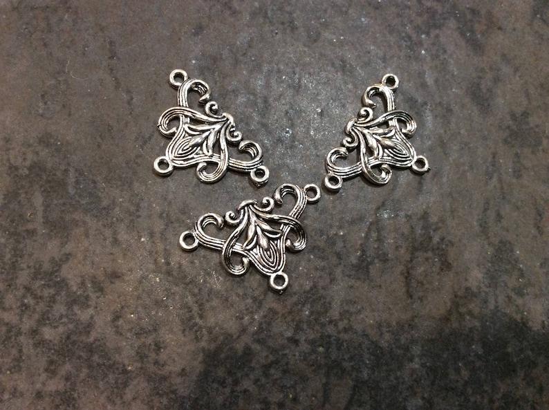 Silver Filigree Y necklace connector package of 3 necklace or bracelet connectors