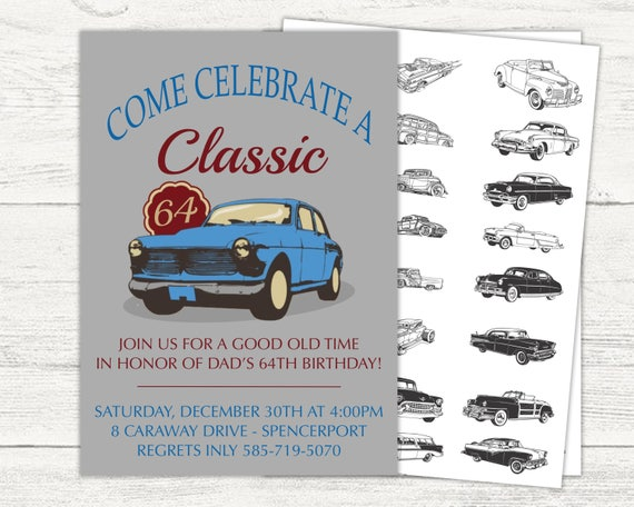 Classic Car Birthday Invitation