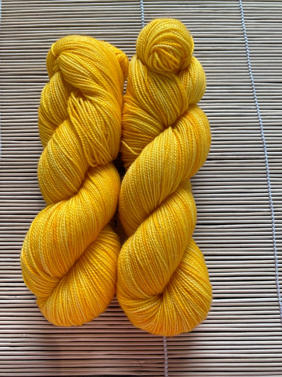 Hand Dyed Yarn, Pantone Inspired Formulary color: SAFFRON, Fingering/Sock weight, ready to ship, can be dyed to order on other bases.