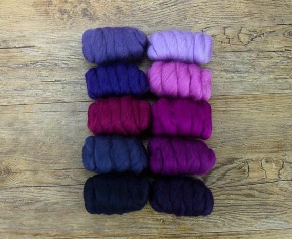 """Merino Wool Fiber, 10 color Merino Fiber Sampler, WOW """"Very Berry"""" pack, 25g of 10 colors, great for felting, spinning, or weaving."""