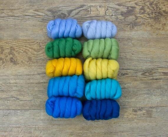 """Merino Wool Fiber, 10 color Merino Fiber Sampler, WOW """"Summer Colors"""" pack, 25g of 10 colors, great for felting, spinning, or weaving."""