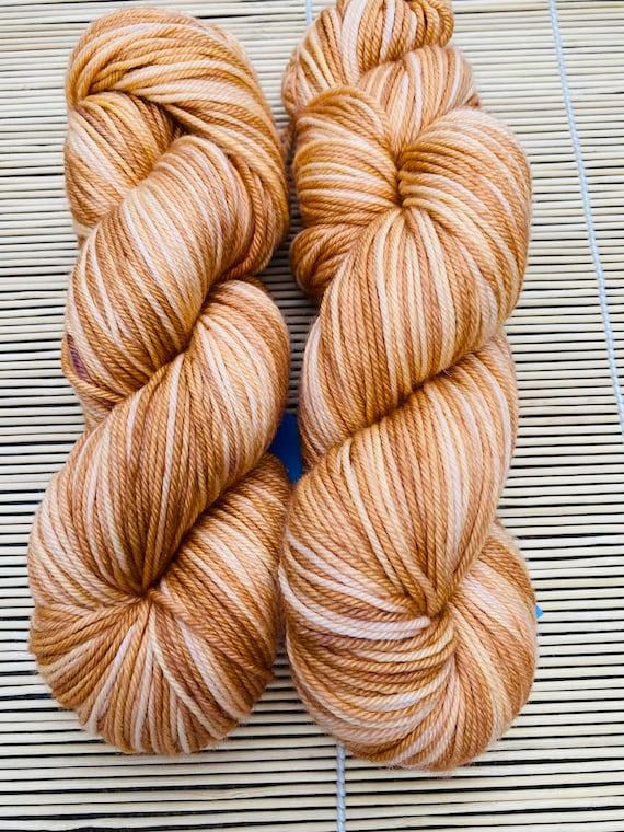 CARAMEL SWIRL hand dyed dk yarn, ready to ship DK-115g skeins, super-wash merino, 250 yds/skein.