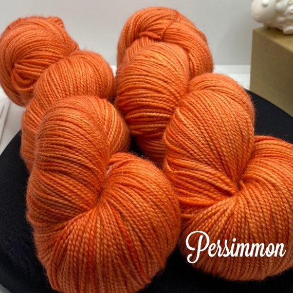 Hand Dyed Yarn, Pantone Inspired Formulary color: PERSIMMON, fingering/sock, ready to ship, yarn can be dyed to order on other bases.