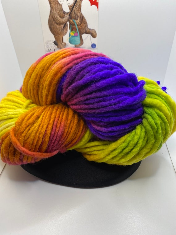 Yarn, Hand Painted Super Chunky Yarn, Super Chunky weight yarn, small batch dyed, 100% SW Merino approx 200g/142yds