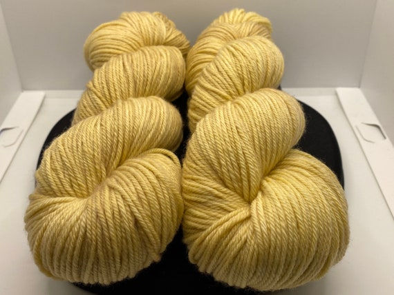 Hand Dyed Yarn, Pantone Inspired Formulary color: SOYBEAN, DK weight yarn, ready to ship, yarn can be dyed to order on other bases.