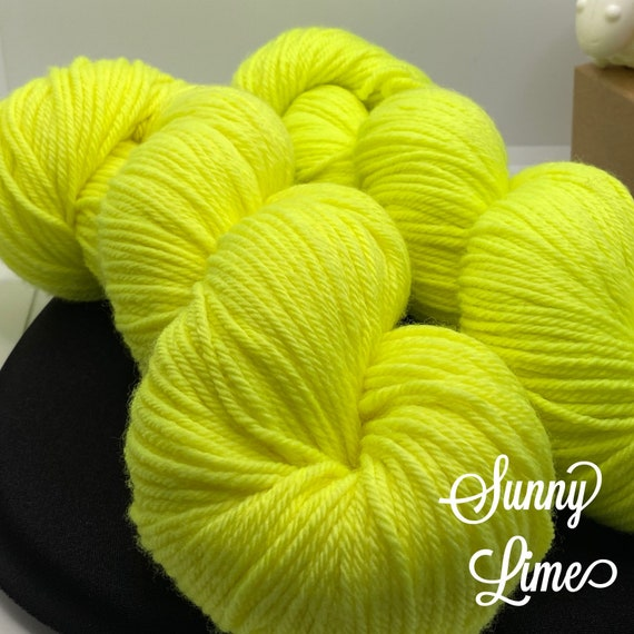 Hand Dyed Yarn, Pantone Inspired Formulary color: SUNNY LIME, DK weight, ready to ship, can be dyed to order on other bases.
