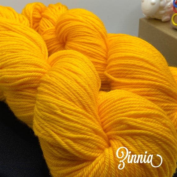 Hand Dyed Yarn, Pantone Inspired Formulary color: ZINNIA, DK weight, ready to ship, can be dyed to order on other bases.
