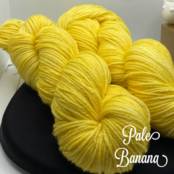Hand Dyed Yarn, Pantone Inspired Formulary color: PALE BANANA, DK weight, ready to ship, can be dyed to order on other bases.
