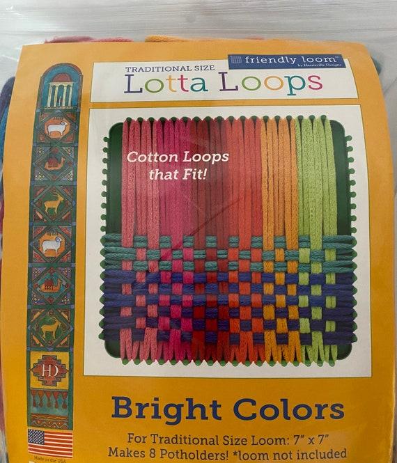 Potholder Loops, Bright TRADITIONAL size loops, 7 inch loom, Harrisville Lotta Loop package, makes 8 potholders.