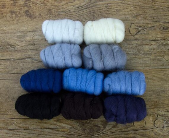 """Merino Wool Fiber, 10 color Merino Fiber Sampler, WOW """"Winter Wonderland"""" pack, 25g of 10 colors, great for felting, spinning, or weaving."""