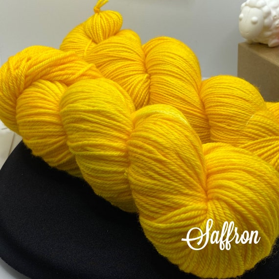 Hand Dyed Yarn, Pantone Inspired Formulary color: SAFFRON, DK weight, ready to ship, can be dyed to order on other bases.