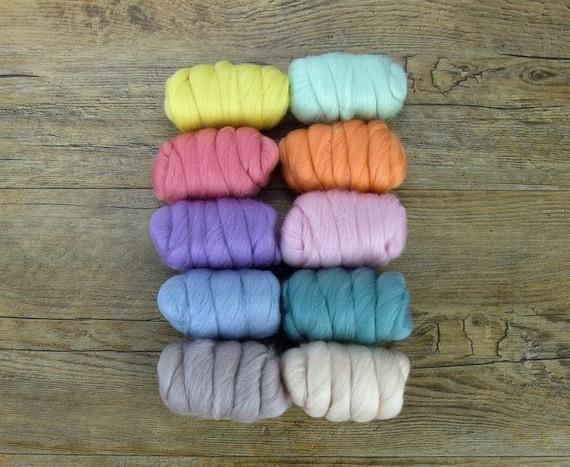 """Merino Wool Fiber, 10 color Merino Fiber Sampler, WOW """"Pretty Pastels"""" pack, 25g of 10 colors, great for felting, spinning, or weaving."""