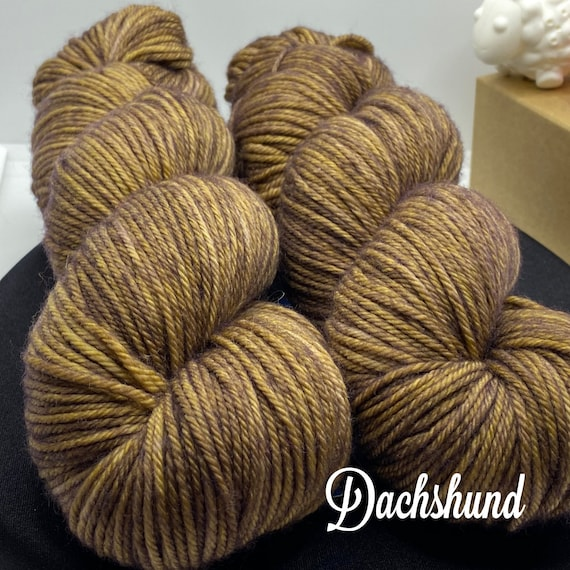 Hand Dyed Yarn, Pantone Inspired Formulary color: DACHSHUND, DK weight, ready to ship, yarn can be dyed to order on other bases.