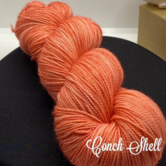 Pantone Inspired Formulary color: CONCH SHELL, hand dyed yarn, fingering/sock, ready to ship, yarn can be dyed to order on other bases.