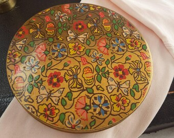 Butterfly and Floral Decoration 1950s Powder Compact