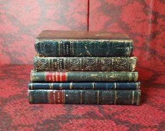 Decorators lot of 5 Leather Bound Books 1813-1866 Interior Decorating