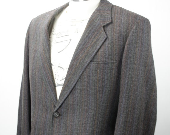 Vintage Men's Suit Coat - De Michele - Wool - Charcoal - Chalk Stripe - Green Blue Red Yellow - 1980's - Men's Fall & Winter Fashion
