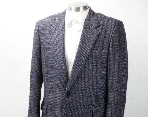 Vintage Men's Suit Coat - Oleg Cassini - Dino's Providence - Wool - Prince of Wales Check/Glen Plaid - Black/Gray/Blue/Red - 1960's