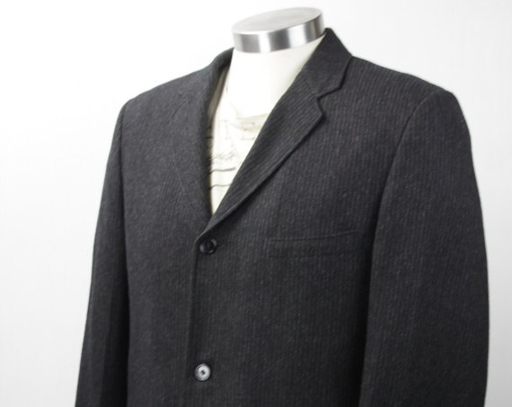 Vintage Men's Suit Coat - ACWA - Samter's of Scranton - Charcoal - White-Red Shadow Stripe - 1950's - Mid Century - Men's Fall Fashion
