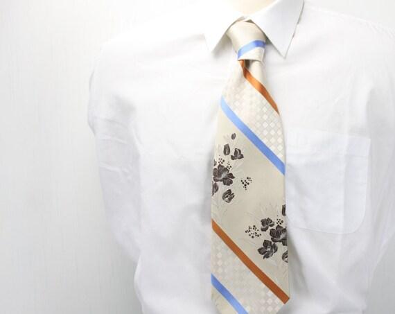 Vintage Men's Necktie - Kennedy's by Prince Igor - University Stripe - Blue - Orange - Cream w/ White checker & Brown Flower Overlay - 1960s