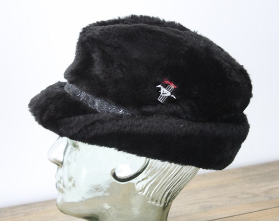 Vintage Men's Hat - Black Faux Fur - Trilby - Horse Pin - Heavy Lining - Leather Trim - 1950's - Mid Century -  Men's Winter Fashion