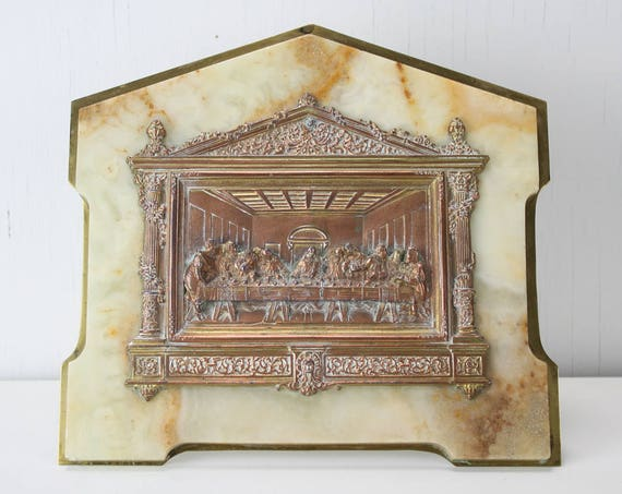 Vintage Last Supper Shrine - Brass Plated Copper Cast Relief on Marble & Brass Frame - 1920's - 1930's - Christian - Home Decor