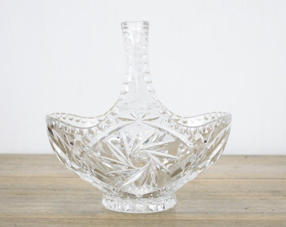 Vintage Crystal Basket - Scalloped Handle - Home Decor - Mid Century