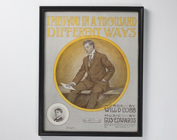 Antique Framed Lithograph - Sheet Music Cover - I Miss You In A Thousand Different Ways - Dapper Gentleman - Vintage Home Decor - Print