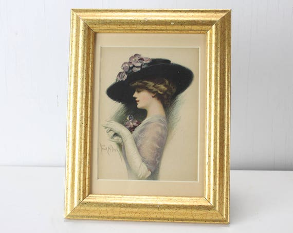 Antique Gibson Girl Cabinet Card - Frank H. Desch - 1905 - 1912 - Lithograph - Framed and Matted - Vintage Women's Fashion - Bonnet