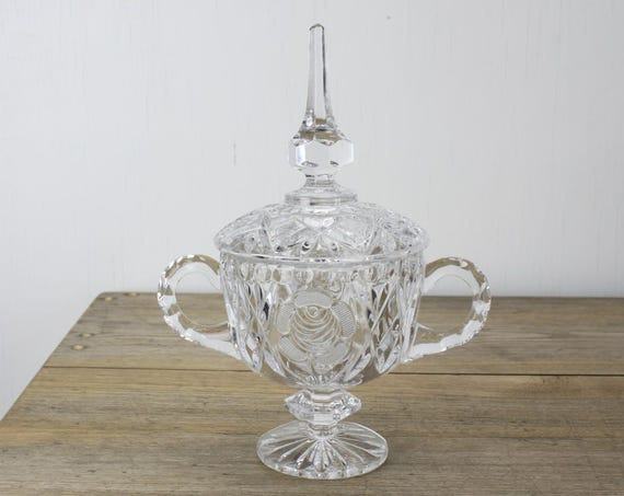 Vintage - Crystal Compote w/ Lid - Mid Century - Rose W/ Engraved Petals - Molded Facets  - 1950's - Candy Dish