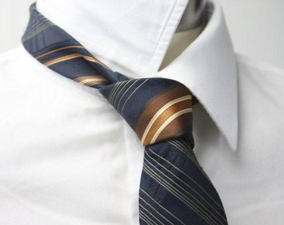 Vintage Men's Necktie - Michelle New York Rome Paris - American Regimental Stripe - Blue - Brown - Multi Stripe - 1960's - 100% Polyester