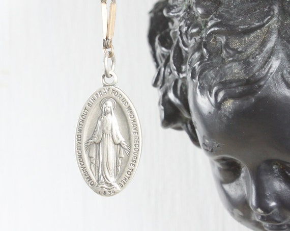 Vintage - Miraculous Medal Sacramental - Oval Pendant - Sterling Silver 5 gm - 1930's - 1940's - Blessed Mother Mary - St. Catherine Labouré