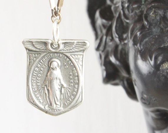 Vintage - Miraculous Medal Sacramental - Shield Pendant - Sterling Silver 5 gm - 1940's - Blessed Mother Mary - St. Catherine Labouré