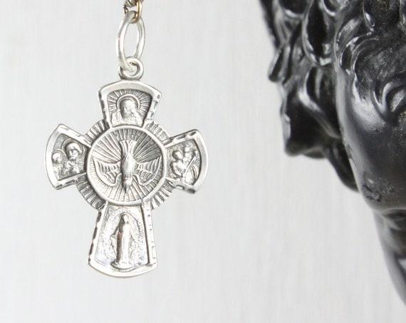 Vintage - 5 Way Medal Sacramental & Scapular - Cruciform Pendant - Sterling Silver 3.3gm - 1920's-1930's - Crucifix - Orthodox - AF Co.