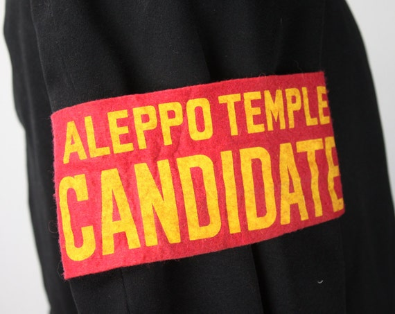 Vintage - Shriner's Armband - Aleppo Temple Candidate - Master Mason - Shrine Mason - Felt - Red W/ Yellow Lettering