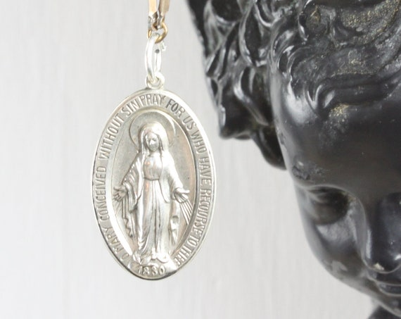 Vintage - Miraculous Medal Sacramental - Oval Pendant - Sterling Silver 5.56 gm - Mid Century - Blessed Mother Mary - St. Catherine Labouré
